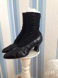 Antike Jugendstil Knopf Stiefel Schuhe 1900