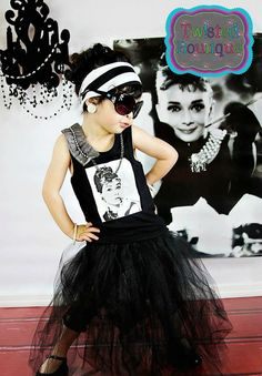audrey hepburn inspired shirt and tutu set by twistedboutique, $40.00