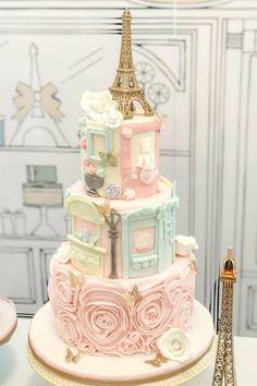 Parisian Birthday Cake - New Site Paris Birthday Cakes, Paris Themed Cakes, Paris Themed Birthday Party, Paris Cakes, Paris Themed Parties, Barbie Birthday Cake, Pretty Cakes, Beautiful Cakes, Amazing Cakes