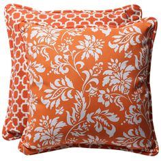 Pillow Perfect Decorative Orange White Geometric Floral Square Reversible Outdoor Toss Pillows Set of 2 from Shop Outdoor Cushions And Pillows, Buy Pillows, Toss Pillows, Decor Pillows, Orange Throw Pillows, Decorative Throw Pillows, Accent Pillows, Decorating Bookshelves, Perfect Pillow