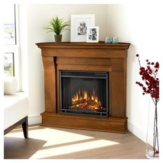 Real Flame - Chateau Corner Electric Fireplace-Espresso, Brown