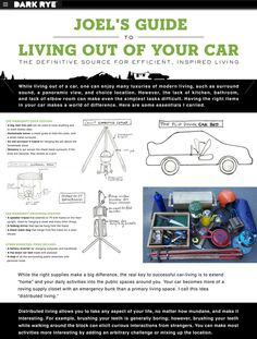 Hemloft Joel's Guide for Living Out Of Your Car from the DARK RYE archives: the PLAY Issue