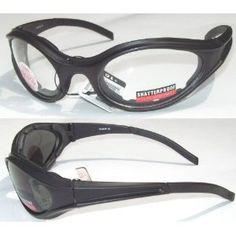 2 Wind Master Motorcycle Glasses Padded Smoked Clear Smoke is for Day and Clear is for Night Has Foam Padded Frame For Comfort and to Keep Wind Dust and Bugs Out of your Eyes NEW