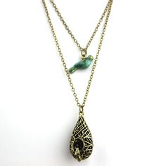 Vampire Diaries Blue Bird Cage Necklace