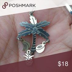 Vintage sterling silver palm tree pendant Vintage sterling silver palm tree pendant with dangling bananas, pineapple, and coconut. Conjures up warm memories. Feel free to ask for more pictures. Jewelry Necklaces