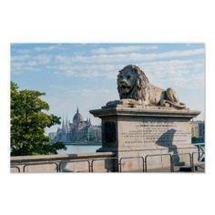 Szechenyi Chain Bridge and Parliament of Budapest Poster Travel Wall Decor, Budapest Hungary, Custom Posters, Mount Rushmore, Travel Destinations, Bridge, Lion Sculpture, Skyline, Statue