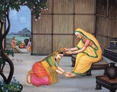 Sita Devi and Sati Anusuya , maa met in forest in Shiva Hindu, Hindu Deities, Hindu Art, Hinduism, Baby Krishna, Krishna Art, Maa Pic, Ramayana Story, Rama Lord