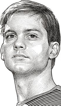 Wall Street Journal portrait (hedcut) of Tobey Maguire Celebrity Caricatures, Celebrity Portraits, Classical Art, Stippling, Portrait Illustration, Wall Street Journal, Pencil Portrait, Drawing Techniques, Drawing People