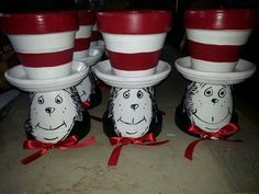 Dr Seuss the cat in the hat clay pot Flower Pot Art, Clay Flower Pots, Flower Pot Crafts, Diy Flower, Clay Pot Projects, Clay Pot Crafts, Diy Clay, Fun Projects, Flower Pot People