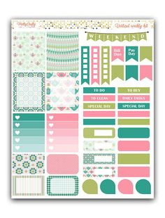 Tea time weekly stickers kit  Themed by PrettyCraftyStickers