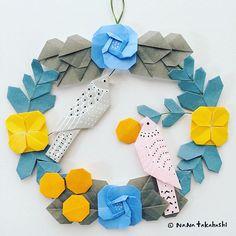 中島種二さんの鳥でリース。どこに飾ろう〜(^^) Where should I decorate it ? ・ ・ #origami #wreath #papercraft #walldecor #paperflower #bird #tanejinakajima #nanatakahashi #おりがみ #リース #ペーパークラフト #壁飾り #お花 #コトリ #中島種二 #カワイイオリガミ細工 #どこにかざろうかな #たかはしなな