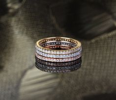 14k Multi-Tone Gold Wedding Band Set, Matching Wedding Band Wedding Ring, .95ct Pave Diamond, Anniversary Ring