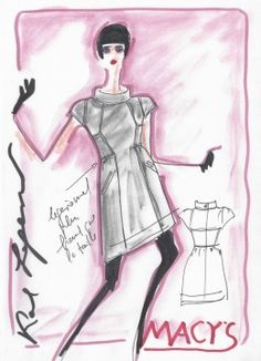 Karl Lagerfeld's sketch for his upcoming contemporary 'masstige' collection for Macy's