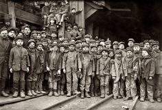 """January 1911 - South Pittston, Pa. """"Breaker boys working in Ewen Breaker of Pennsylvania Coal Co."""" Photograph by Lewis Wickes Hine"""