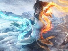 Korra a water bender and the avatar wielder of all four elements. from the cartoon/anime Avatar: Legend of Korra. Fantasy Girl, Chica Fantasy, Fantasy Witch, Witch Art, Fantasy Warrior, Art Anime, Anime Kunst, Legend Of Korra, Wallpaper 1920x1200