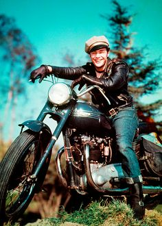 BRMC OG Marlon Brando and Triumph Thunderbird, in The Wild One (1953) #People #Vintage_Motorcycle