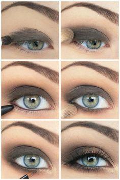 maquillage pour les yeux verts en marron et or