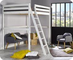 AGATHE - Son l it mezzanine - Lit Enfant Mezzanine Cargo Blanc 140x200 cm avec vue du côté