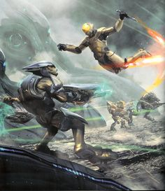 Spartan III Attacks a Sangheili Elite.