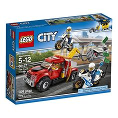 Be part of the action with the LEGO City Police as they race after the crook trying to tow away a safe. This set includes a tow truck with winch arm and hook police off-road bike and a police pursuit...