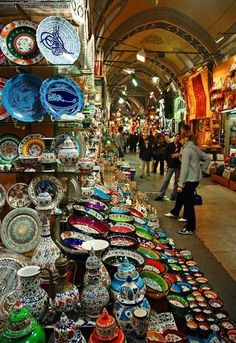 Istanbul, Turkey - Did You Know? The Grand Bazaar in Istanbul is one of the largest and oldest covered markets in the world, with 61 covered streets and over shops which attract between and visitors daily. Places Around The World, Oh The Places You'll Go, Places To Travel, Around The Worlds, We Are The World, Wonders Of The World, Istanbul Market, Wonderful Places, Beautiful Places