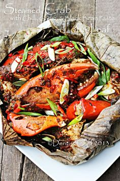 Steamed Crab with Chili, Garlic and Black Bean Paste wrapped in Lotus Leaf