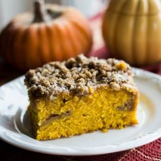 Coffee cake that's laced with strong coffee and all the flavors of pumpkin pie that's been baked together for one sweet breakfast treat!