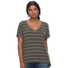 Juniors' Plus Size SO® Scoopneck Tee, Teens, Size: 2XL, Dark Green