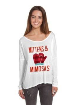 Mittens & Mimosas Scoop Hi-Lo Long Sleeve Tee