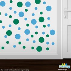 Green / Ice Blue Polka Dot Circles Wall Decals