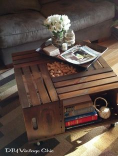Coffee/storage table made from crates.  These can be bought at craft stores.