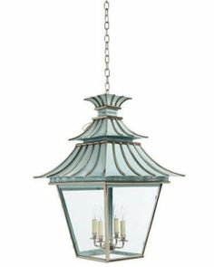 Pagoda Lantern by Charles Edwards via Elle Decor.  Comes in a range of metal finishes and paint colors such as polished nickel with duck-egg blue...