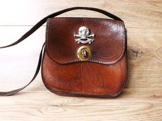 Leather Shoulder Saddle Bag, Death or Glory, Skull & Cross Bones, British Military Pouch 17th Lancers, Steampunk, Brown Purse Handbag by CuriosAnCollectibles on Etsy