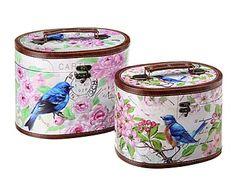 Set de 2 neceseres de madera DM y lienzo Birds