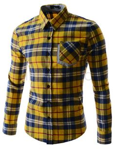 Whyyyyyyy do I like Korean clothing so much? Flannel Shirt Outfit, Flannel Shirts, Yellow Clothes, Formal Shirts For Men, Mens Fashion Shoes, High Fashion, Slim Fit Dress Shirts, Outfit Grid, Korean Outfits