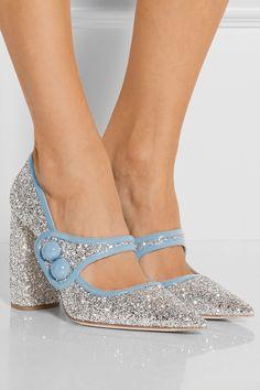 Miu Miu | Glittered patent-leather Mary Jane pumps | NET-A-PORTER.COM
