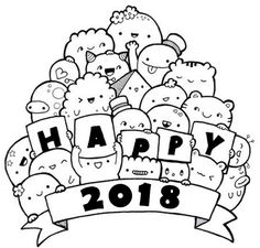 Desenho para colorir Ano novo 2018