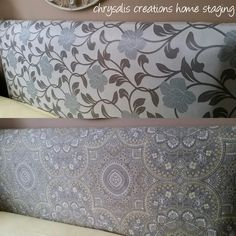 One headboard - two looks with my easy to change interchangeable headboard covers. Headboards and covers by Chrysalis Creations Home Staging and Decorating Headboard Cover, Head Boards, Home Staging, Valance Curtains, House Ideas, Change, Decorating, Easy, Dekoration