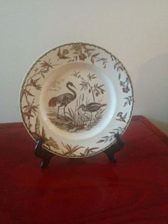 It's mine! Had to have it! ANTIQUE VICTORIAN AESTHETIC BROWN TRANSFERWARE -INDUS PLATE BIRDS ,1877