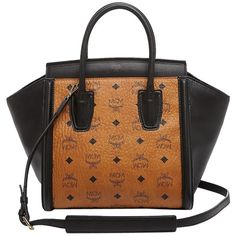Pre-owned Mcm Kathy Visetos Tote Handbag Black, Brown Satchel ($738) ❤ liked on Polyvore featuring bags, handbags, tote bags, black tote bag, brown satchel, mcm tote bag, black purse and shopping bag