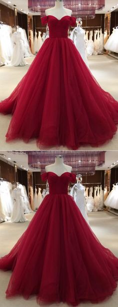 Simple burgundy tulle long sweetheart neckline evening dress with sleeves