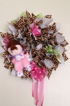 Baby Shower for a girl. Leopard Print and pink theme. But without the green would be better(: Baby Shower Parties, Baby Shower Gifts, Cheetah Baby Showers, Baby Leopard, Godchild, Pink Themes, Deco Mesh Wreaths, Girl Shower, Baby Fever
