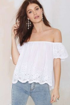 Glamorous Phoebe Eyelet Top - Shirts + Blouses | Off The Shoulder