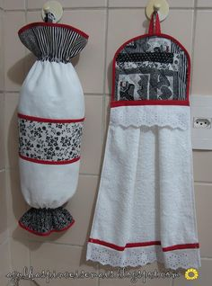 nice for a gift Dish Towels, Hand Towels, Tea Towels, Sewing Hacks, Sewing Crafts, Sewing Projects, Towel Dress, Black And White Bags, Plastic Bag Holders