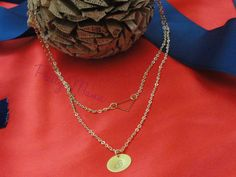 Double Layered Initial Necklace Initial Necklace by PrettyMaNa