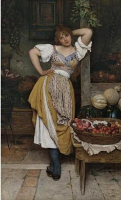 The Fruit Seller  Eugene de Blaas - (1843 1931)  #colour palette