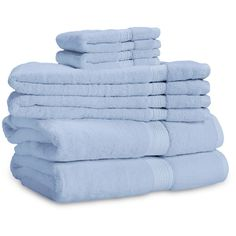 ExceptionalSheets 906 Gram 6-Piece Egyptian Cotton Towel Set 6 Piece... ($70) ❤ liked on Polyvore featuring home, bed & bath, bath, bath towels, bathroom, blue, blue bath towels, light blue bath towels, blue hand towels and 6 piece towel set