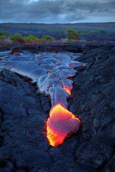 Lava flowing from Kilauea
