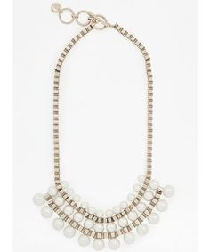 silver chain link necklace with pearl drops   jewelry   accessory