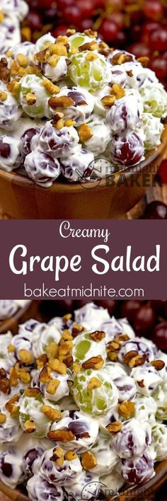a salad everyone can get into! Sweet juicy grapes in a creamy cheesecake-like dressing. Perfect for snacking.Here's a salad everyone can get into! Sweet juicy grapes in a creamy cheesecake-like dressing. Perfect for snacking. Dessert Salads, Fruit Salad Recipes, Salad Dressing Recipes, Dessert Recipes, Creamy Fruit Salads, Cheesecake Fruit Salad, Fruit Appetizers, Jello Salads, Snacking